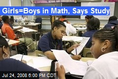 Girls=Boys in Math, Says Study