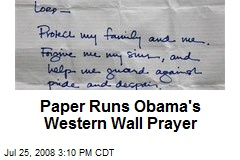 Paper Runs Obama's Western Wall Prayer