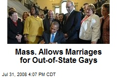 Mass. Allows Marriages for Out-of-State Gays