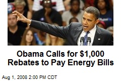 Obama Calls for $1,000 Rebates to Pay Energy Bills