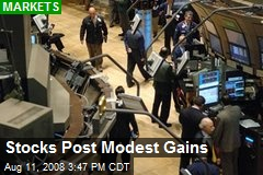 Stocks Post Modest Gains