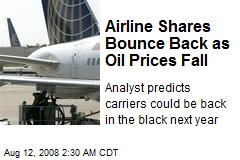 Airline Shares Bounce Back as Oil Prices Fall