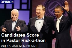 Candidates Score in Pastor Rick-a-thon