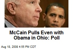 McCain Pulls Even with Obama in Ohio: Poll