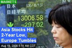 Asia Stocks Hit 2-Year Low, Europe Tumbles