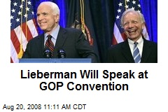 Lieberman Will Speak at GOP Convention