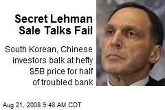 Secret Lehman Sale Talks Fail
