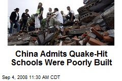 China Admits Quake-Hit Schools Were Poorly Built