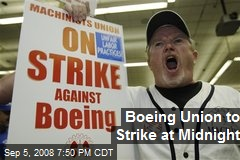 Boeing Union to Strike at Midnight