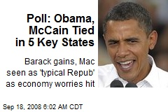 Poll: Obama, McCain Tied in 5 Key States