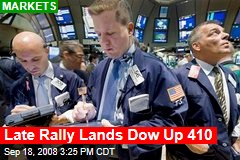 Late Rally Lands Dow Up 410