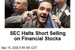SEC Halts Short Selling on Financial Stocks