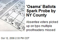 'Osama' Ballots Spark Probe by NY County