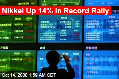 Nikkei Up 14% in Record Rally
