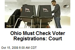 Ohio Must Check Voter Registrations: Court