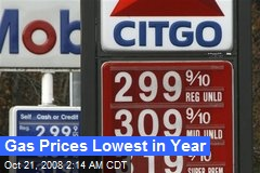 Gas Prices Lowest in Year