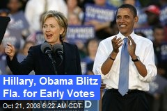 Hillary, Obama Blitz Fla. for Early Votes