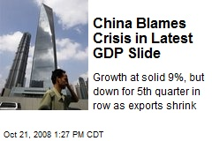 China Blames Crisis in Latest GDP Slide