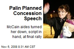 Palin Planned Concession Speech