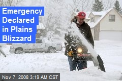 Emergency Declared in Plains Blizzard