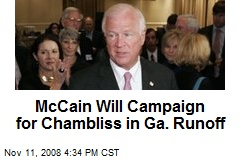 McCain Will Campaign for Chambliss in Ga. Runoff