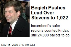 Begich Pushes Lead Over Stevens to 1,022