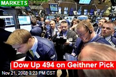 Dow Up 494 on Geithner Pick