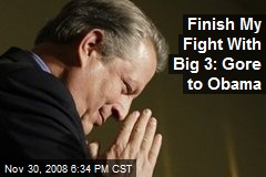 Finish My Fight With Big 3: Gore to Obama
