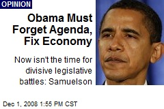 Obama Must Forget Agenda, Fix Economy