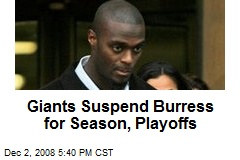 Giants Suspend Burress for Season, Playoffs
