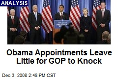 Obama Appointments Leave Little for GOP to Knock