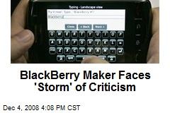 BlackBerry Maker Faces 'Storm' of Criticism