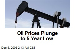 Oil Prices Plunge to 5-Year Low