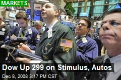 Dow Up 299 on Stimulus, Autos