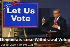 Democrats Lose Withdrawal Vote