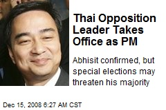 Thai Opposition Leader Takes Office as PM