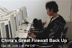 China's Great Firewall Back Up