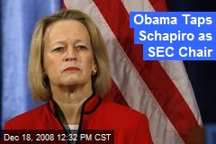Obama Taps Schapiro as SEC Chair