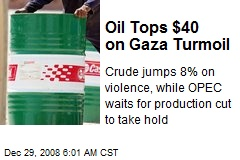 Oil Tops $40 on Gaza Turmoil