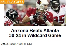 Arizona Beats Atlanta 30-24 in Wildcard Game