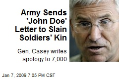 Army Sends 'John Doe' Letter to Slain Soldiers' Kin