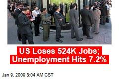 US Loses 524K Jobs; Unemployment Hits 7.2%