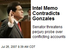 Intel Memo Contradicts Gonzales