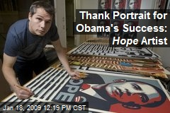 Thank Portrait for Obama's Success: Hope Artist