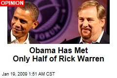 Obama Has Met Only Half of Rick Warren