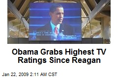 Obama Grabs Highest TV Ratings Since Reagan
