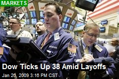 Dow Ticks Up 38 Amid Layoffs