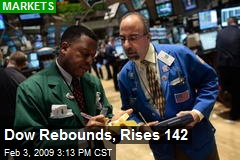 Dow Rebounds, Rises 142