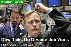 Dow Ticks Up Despite Job Woes