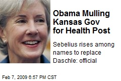 Obama Mulling Kansas Gov for Health Post
